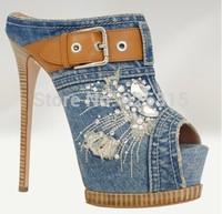 Free shipping 2014 Brand Women Diamond High Heels Denim Buckle Pumps Blue Jean Women Flip Flops Summer Sandals