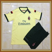 14/15 AC Milan Third Yellow Soccer Uniform,High Quality Embroidery Logo AC Milan Third Soccer Shirt with short+Free Shipping