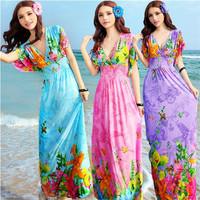 1019 free shipping 2014 summer women new fashion bohemian print slim waist ruffles sleeve long maxi dress ladies cute dresses
