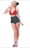 New 2014 Skull Dot Cheap Vintage High Waist Swimsuit Swimwear Women Cute Bathing Suits Plus Size Swimsuit M L XL XXL