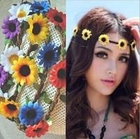 Free shipping DAISY FLOWER headband - BOHO HIPPY Headband - Floral Hair Band - Crown headband