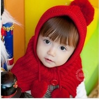 1-6 Years Old Winter Baby/Children Baby Warm Hat Scarf Shawls/Connected/Two-Piece Outfit 5 Color