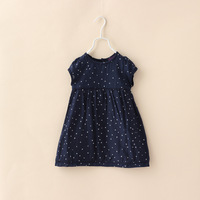 Baby Girl Elegant Dress Sleeveless Little Star Print Cotton Silk Kids Clothing Casual Summer New 2014 Navy Blue Color Wholesale
