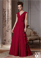Style 2015 Beautifully Cranberry Cap Sleeves V-Neck and Chiffon Ruched Flower A-Line Mother Of The Bride Dresses