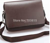 Transverse Style medium  size  men's cowskin single-shoulder bag , black / brown business men  messenger bag