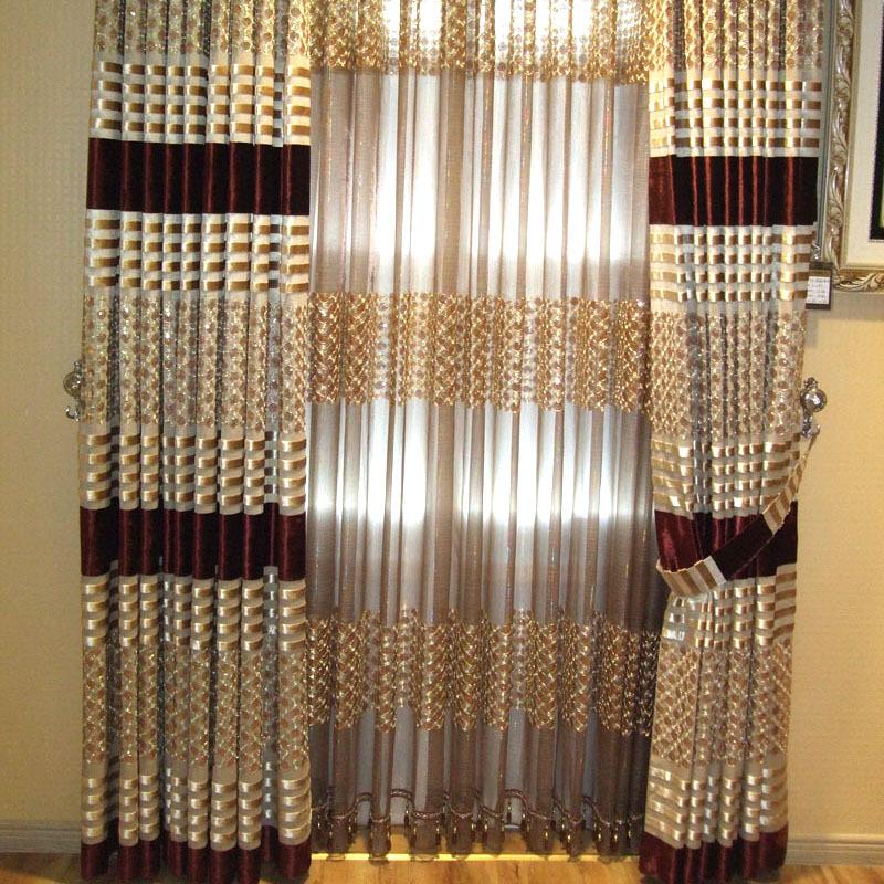 Jindal * Happy Home coreano semi telas de sombreamento oco cortinas da sala de noiva sob encomenda moderna(China (Mainland))