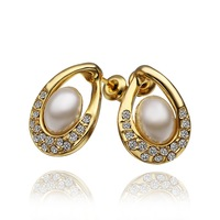 18K Earrings - E498 / 2014 New Arrival,18K Gold Plated Trendy Crystal White Eggs Pearl Stud Earrings For women,  Free shipping
