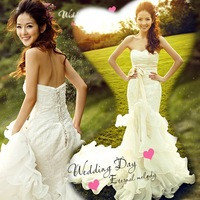 The bride wedding dress formal dresses spring fish tail tube top train lace wedding dresses