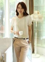 2014 summer plus size clothing top lace shirt female basic shirt short-sleeve