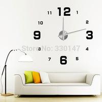 Large Digital Mirror Wall Clock Silent Clock Acrylic DIY Sticker Modern Design Free Shipping Wholesale