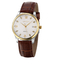 Card poem, authentic leather bag mail business ultra-thin quartz watch men kill between gold