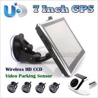 7 inch Wince GPS+Rear View Camera+Parking Sensor,800MHz Bluetooth AV-in Altas VI car GPS,wireless camera with night vision
