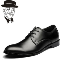 New 2014 plus size men's genuine leather flats fashion pointed toe business wedding shoes