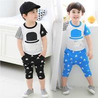 Boys Sets summer Kids Boy sets Childrens Print T shirt + Harem Pants suits 2pcs Boys casual set Free Shipping