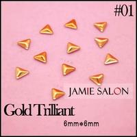 Gold Nail Stud Diamond Different Shape Design Metal Nail Art Decorations Metallic Stickers / 10 packs / lot Free Shipping #Gold