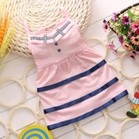 2014 New Fashion Summer Girl's Dress 100% cotton Striped Girl Kids Turn-down Collar Vara Bow Princess Dress Casual Vest Dress