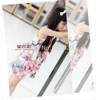 2014 new Girls Dress child large flowers printed chiffon skirt cake  dress