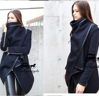 2014 winter coat women Long Zipper Worsted O-neck Full Pockets Solid Winter jacket Women Overcoat Fashion Trench Coat