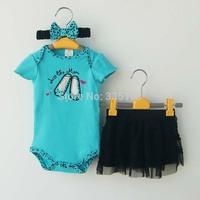 DROP SHIPPING Baby summer Clothing Sets Girls 3 Piece Suits shorts Romper +Tutu Skirt + Headband newborn girl wear