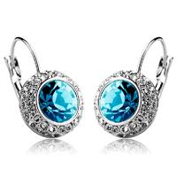 New Fashion Austrian Blue/Purple/Pink Crystal Drop Earrings 18K Gold Plated Women's Charm Jewelry Free Shipping (CE019)
