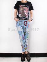 2014 hot sale Eourpean style women Destroyed Hole Colored Letter Sequins boyfriend loose light blue denim jeans for woman