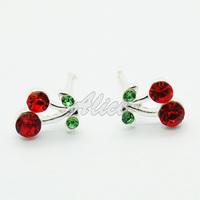 925 Silver Earrings Fashion Jewelry Free Shipping Cherry Stud Earrings Silver Jewelry MYE001