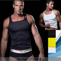 Free shippingmale threadmen's tight elastic sports vest o-neck fashion tank tops casual and HOT SALE