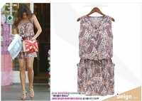2014 Limited Time-limited Natural Newest European Start Design Slim Fashion Women Sleeveless Printed Color Chiffon Casual Dress