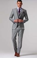 Wholesale Free shipping high quality wedding suit Custom made Men fit light grey Suit (Jacket + pants +vest)