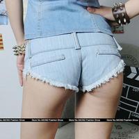 Sexy women low-waist denim  shorts frayed was thin hip Qiaotun club straight jeans tassel