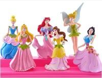 Snow White Princess Cinderella ariel Tinker Bellcute Cartoon Figure Doll 8cm 6 pcs/set birthday gift
