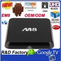 HOT!! amlogic Quad Core Android TV Box M8 Amlogic S802 2GB/8GB Dual WiFi Mali450 GPU 4K HDMI Bluetooth DOLBY True HD DTS HD EM8