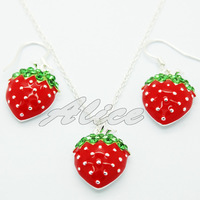 925 Silver Sets Fashion Jewelry Sets Strawberry Pendant Necklace Strawberry Drop Earrings Silver Jewelry MYS004