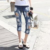 2014 hot sale Eourpean style Oil Paint Destroyed Hole boyfriend loose women blue denim jeans for woman harem Capris pant