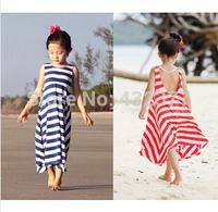 Retail! Girls Summer Dresses 2014 toddler girl clothes Casual Bohemian girl dress  Ink/Orange stripe beach Dresses