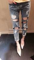 2014 hot sale Eourpean style boyfriend loose women Destroyed Hole blue denim jeans for woman harem Capris pant