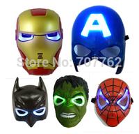 Hot sale ! Free Shipping LED Glowing Lighting Mask avengers Hulk Captain America Batman Spiderman Ironman Party Mask &Boy Gift