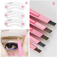 1Set Eyebrow makeup  Tool 1pc/lot automatic eyebrow pencil  and 1pack Eyebrow stencil eye liner rotation makeup tools