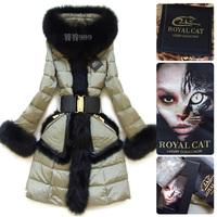 Table two-color royal fox fur mink hair for cat design long slim down coat female