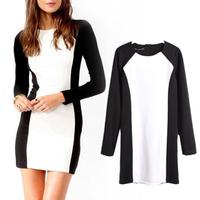 spring slim black-and-white patchwork long-sleeve dress ladies dress