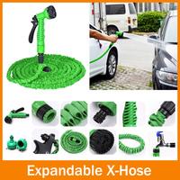 Free Shipping!100FT Hose Expandable Flexible WATER GARDEN Pipe Green valve+ spray Nozzle -(1set=1pcs hose+1 pcs spray nozzle