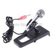 3.5mm Mini Studio Speech Mic Dynamic Lightweight Microphone w Stand for PC