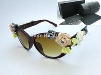 Free Shipping Fashion 1:1 Brand All-match Vintage big box Flowers women's sunglasses DG2273