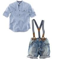 Retail one set 2014 summer children clothing sets boys shirt+denim overalls handsome 2pcs boy sets branded kids wears