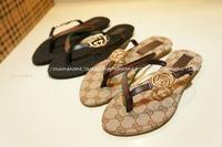 2014 quality fashion double g metal buckle decoration flat heel flat flip flops shoes women's shoes plus size