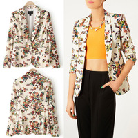 Fashion Womens Vintage Floral Print Jogging Casual Slim Fit Short Blazer Suit Jacket Outwear