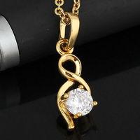 Women Gold Plated Infinity Shape Round Zircon Crystal Pendant Jewelery   63246