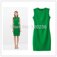 Free shipping !  2014 Girls OL style  Sleeveless Green Color Slim fit Dress ladies fashion dress evening dress