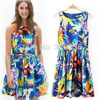 Free shipping !  2014 Girls Double pockets Graffiti printing Blue Color Dress ladies fashion dress evening dress