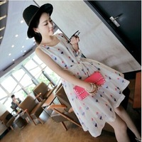 2014 summer maternity ice cream printed chiffon dress pregnant women cute bow sleeveless dress free shipping high quality dress